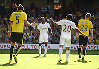 Andre Ayew of Swansea can not hide his frustration   during the Barclays Premier League match Watford and Swansea   played at Vicarage Road Stadium , Watford