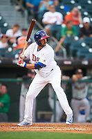 Buffalo Bisons first baseman Chris Colabello (41), on rehab assignment from the Toronto Blue Jays, at bat during a game against the Norfolk Tides on July 18, 2016 at Coca-Cola Field in Buffalo, New York.  Norfolk defeated Buffalo 11-8.  (Mike Janes/Four Seam Images)