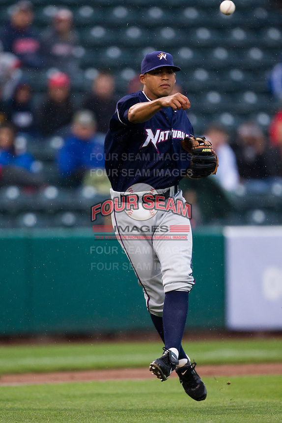 Mario Lisson (29) of the Northwest Arkansas Naturals throws a ball to first base during a game against the Springfield Cardinals on May 13, 2011 at Hammons Field in Springfield, Missouri.  Photo By David Welker/Four Seam Images.