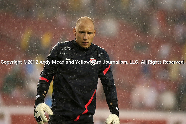08 June 2012: Brad Guzan (USA) warms up before the game in heavy rain. The United States Men's National Team defeated the Antigua and Barbuda Men's National Team 3-1 at Raymond James Stadium in Tampa, Florida in a CONCACAF Semifinal Round World Cup Qualifying match for the 2014 FIFA World Cup in Brazil.