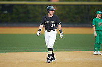 Chris Lanzilli (24) of the Wake Forest Demon Deacons takes his lead off of second base against the Notre Dame Fighting Irish at David F. Couch Ballpark on March 10, 2019 in  Winston-Salem, North Carolina. The Fighting Irish defeated the Demon Deacons 8-7 in 10 innings in game two of a double-header. (Brian Westerholt/Four Seam Images)