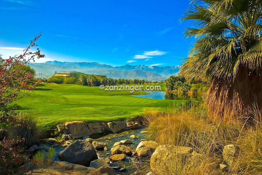 Golf Course, Stream, Rocks, Green, Fairway Mountains