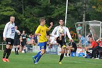 VOETBAL: DRACHTEN: 20-09-2014, Drachtster Boys - VV Staphorst, uitslag 2-1, Mark Schra (#17), Aziz Geyik (#22) aan de bal, ©foto Martin de Jong