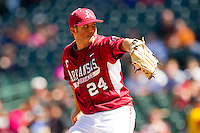 Starting pitcher DJ Baxendale #24 of the Arkansas Razorbacks in action against the Texas Longhorns at Minute Maid Park on March 4, 2012 in Houston, Texas.  The Razorbacks defeated the Longhorns 7-3.  Brian Westerholt / Four Seam Images