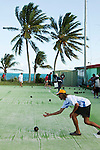 Game of lawn bowls at the Thursday Island Bowls club.  Thursday Island, Torres Strait Islands, Queensland, Australia