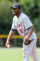 Detroit Tigers pitcher Montreal Robertson #51 during an Instructional League game against the national team from China at Vero Beach Sports Complex on September 29, 2011 in Vero Beach, Florida.  (Mike Janes/Four Seam Images)