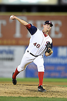 Salem Red Sox pitcher Kyle Martin (48) delivers a pitch during a game against the Lynchburg Hillcats on April 25, 2014 at Lewisgale Field in Salem, Virginia.  Salem defeated Lynchburg 10-0.  (Mike Janes/Four Seam Images)