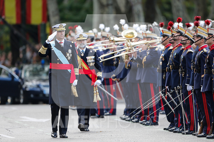 King Felipe VI of Spain attends Spanish National Day military parade in Madrid, Spain. October 12, 2015. (ALTERPHOTOS/Pool)