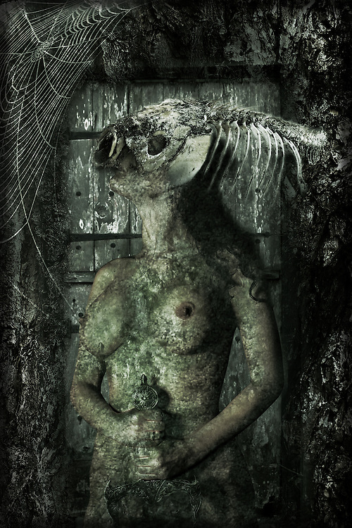 A naked female figure with a fish skull