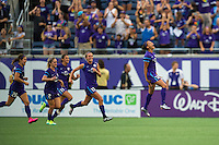 Orlando, FL - Sunday July 10, 2016: Kristen Edmonds celebrates scoring during a regular season National Women's Soccer League (NWSL) match between the Orlando Pride and the Boston Breakers at Camping World Stadium.