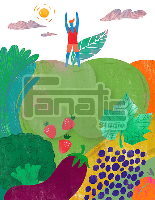 Illustration of fit man standing on fruits and vegetables