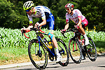 The 2 man breakaway featuring Stéphane Rossetto (FRA) Cofidis and Yoann Offredo (FRA) Wanty-Gobert Cycling Team during Stage 7 of the 2019 Tour de France running 230km from Belfort to Chalon-sur-Saone, France. 12th July 2019.<br /> Picture: ASO/Alex Broadway | Cyclefile<br /> All photos usage must carry mandatory copyright credit (© Cyclefile | ASO/Alex Broadway)