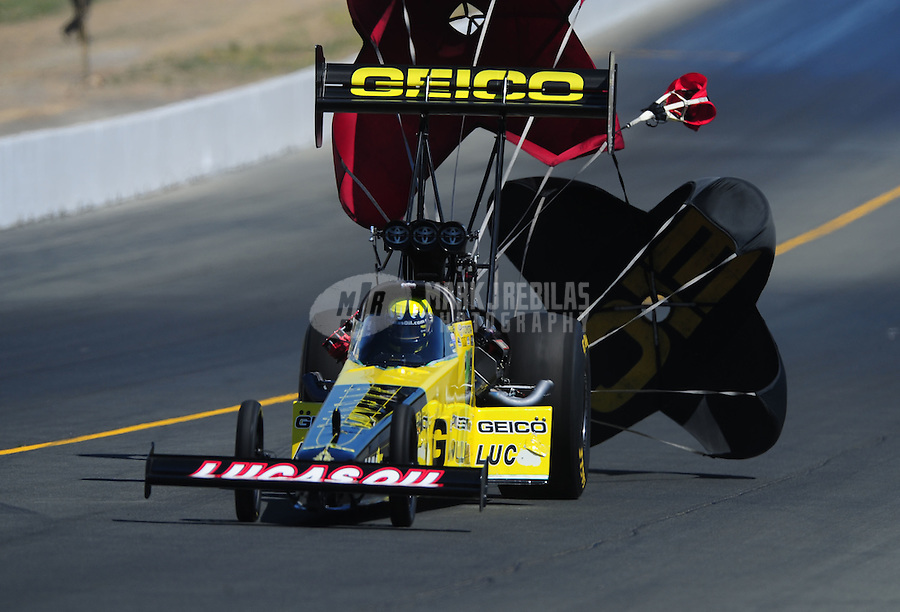 Jul. 30, 2011; Sonoma, CA, USA; NHRA top fuel dragster driver Morgan Lucas during qualifying for the Fram Autolite Nationals at Infineon Raceway. Mandatory Credit: Mark J. Rebilas-