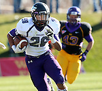 MANKATO, MN - NOVEMBER 1:  John Tidwell #26 for the University of Sioux Falls returns a kick past Bryce Dominick #43 from Minnesota State Mankato in the second quarter Saturday afternoon at Blakeslee Stadium in Mankato. (Photo by Dave Eggen/Inertia)