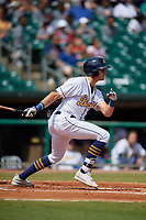 Montgomery Biscuits Josh Lowe (28) during a Southern League game against the Mobile BayBears on May 2, 2019 at Riverwalk Stadium in Montgomery, Alabama.  Mobile defeated Montgomery 3-1.  (Mike Janes/Four Seam Images)