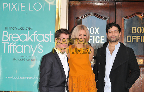 Matt Barber, Victoria Louise &quot;Pixie&quot; Lott &amp; Charlie De Melo attend the Breakfast at Tiffany's press photocall, Theatre Royal Haymarket, Suffolk Street, London, UK, on Thursday 28 January 2016.<br /> CAP/CAN<br /> &copy;CAN/Capital Pictures