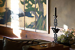 A pair of 18th century Japanese screens was added to the living room at Frank Lloyd Wright's Hollyhock House in Barnsdall Art Park, Hollywood, Los Angeles, CA