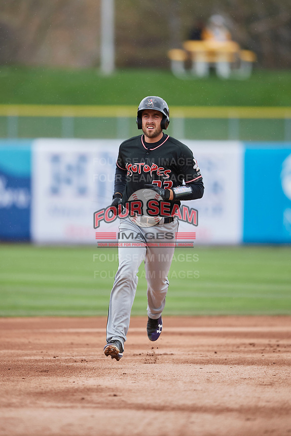 Tom Murphy (23) of the Albuquerque Isotopes rounds the bases after hitting a home run against the Salt Lake Bees at Smith's Ballpark on April 8, 2018 in Salt Lake City, Utah. Albuquerque defeated Salt Lake 11-4. (Stephen Smith/Four Seam Images)