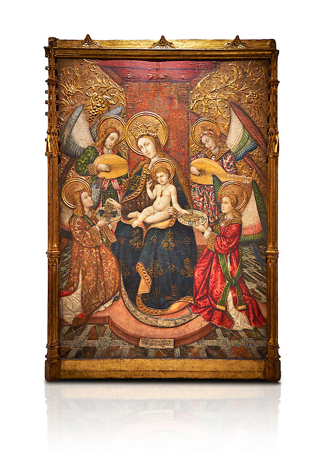 Gothic altarpiece of Madonna and Child and 4 angels, by Pere Garcia de Benavarri, circa 1445-1485, tempera and gold leaf on wood.  National Museum of Catalan Art, Barcelona, Spain, inv no: MNAC  15817. Against a white background.