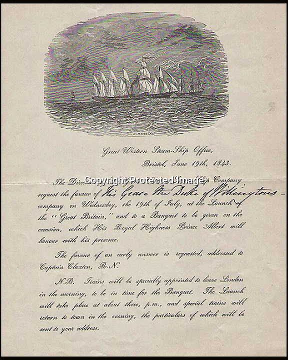 BNPS.co.uk (01202 558833)<br /> Pic: Mullocks/BNPS<br /> <br /> ***Please use full byline***<br /> <br /> The invitation.<br /> <br /> A collection of memorabilia relating to the Duke of Wellington has emerged for sale.<br /> <br /> An autopsy showed Napoleon died from stomach cancer, but others believe he was poisoned by arsenic from his wallpaper. This is estimated to sell for up to &pound;4,000.<br /> <br /> Other memorabilia in the sale includes some of the Duke of Wellington's hair. A note in Wellington's handwriting states the hair was cut off and presented in March 1843. The hair is expected to sell for up to &pound;700.<br /> <br /> There is also Wellington's invitation to the launch of the SS Great Britain, which includes his reply stating he is unable to leave London. It has an estimate of up to &pound;4,000.