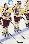 Dru Burns (BC - 7), Kaliya Johnson (BC - 6) - The Boston College Eagles defeated the visiting University of Maine Black Bears 10-0 on Saturday, December 1, 2012, at Kelley Rink in Conte Forum in Chestnut Hill, Massachusetts.