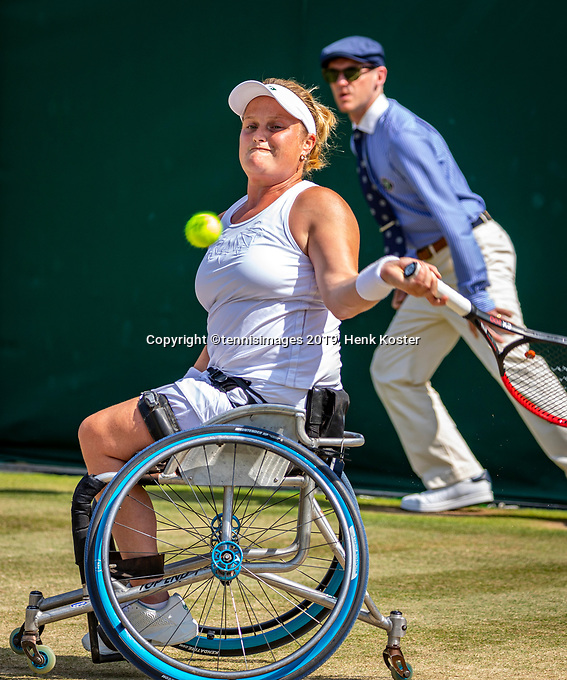 London, England, 11 July, 2019, Tennis,  Wimbledon, Ladies Wheelchair single: Aniek van Koot (NED)<br /> Photo: Henk Koster/tennisimages.com