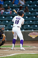 JJ Muno (10) of the Winston-Salem Dash at bat against the Lynchburg Hillcats at BB&T Ballpark on August 1, 2019 in Winston-Salem, North Carolina. The Dash defeated the Hillcats 9-7. (Brian Westerholt/Four Seam Images)
