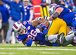 "14 December 2014: Buffalo Bills running back Anthony ""Boobie"" Dixon is tackled by Green Bay Packers inside linebacker Sam Barrington after a 4-yard gain in the third quarter at Ralph Wilson Stadium in Orchard Park, NY. The Bills defeated the Packers 21-13, snapping the Packers' 5-game winning streak and keeping the Bills' 2014 playoff hopes alive. Mandatory Credit: Ed Wolfstein Photo *** RAW (NEF) Image File Available ***"