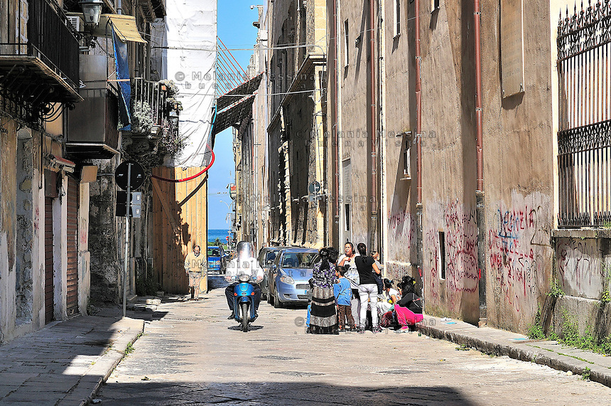 Palermo, alley in the historic city center.