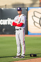 Hagerstown Suns pitching coach Sam Narron (43) prior to the game against the Greensboro Grasshoppers at NewBridge Bank Park on June 21, 2014 in Greensboro, North Carolina.  The Grasshoppers defeated the Suns 8-4. (Brian Westerholt/Four Seam Images)