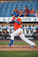 Syracuse Mets Ruben Tejada (1) at bat during an International League game against the Charlotte Knights on June 11, 2019 at NBT Bank Stadium in Syracuse, New York.  Syracuse defeated Charlotte 15-8.  (Mike Janes/Four Seam Images)