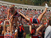 Virginia cheerleaders during an NCAA college football game against Penn State in Charlottesville, Va. Virginia defeated Penn State 17-16. Photo/Scott Bender