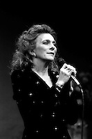 Judy Collins performing in Ovations, an AIDS research fundraiser at the American Repertory Theater in Cambridge MA February 1986
