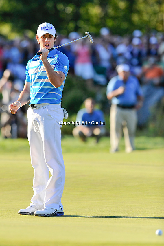September 3, 2012 Rory McIlroy of Northern Ireland reacts to missing a putt that would have clinched the Championship round of the Deutsche Bank Championship tournament held at The Tournament Players Club, in Norton, Massachusetts.   Eric Canha/CSM