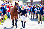 Ingrid Klimke and SAP Hale Bob OLD. GER. Eventing. Team and individual Horse Inspection before dressage. Day 2. World Equestrian Games. WEG 2018 Tryon. North Carolina. USA. 12/09/2018. ~ MANDATORY Credit Elli Birch/Sportinpictures - NO UNAUTHORISED USE - 07837 394578