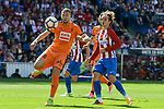Atletico de Madrid's Antoine Griezmann and SD Eibar's Florian Lejeune during Liga Liga match between Atletico de Madrid and SD Eibar at Vicente Calderon Stadium in Madrid, May 06, 2017. Spain.<br /> (ALTERPHOTOS/BorjaB.Hojas)