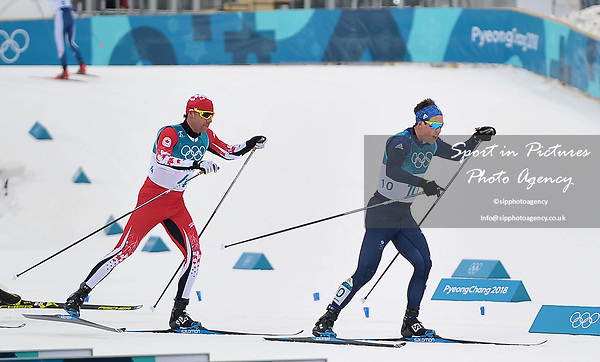 Andrew Musgrave (GBR, 10) leads going into the last lap. Mens 15km Skiathlon. Cross country skiing. Pyeongchang2018 winter Olympics. Alpensia cross country centre. Alpensia. Gangneung. Republic of Korea. 11/02/2018. ~ MANDATORY CREDIT Garry Bowden/SIPPA - NO UNAUTHORISED USE - +44 7837 394578