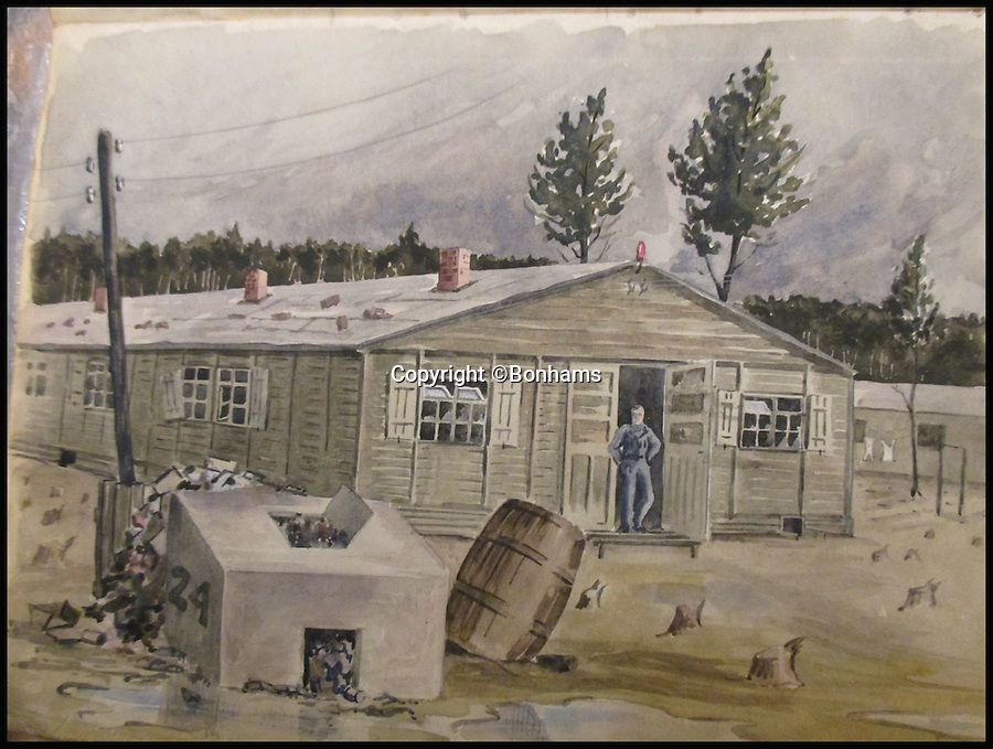 BNPS.co.uk (01202 558833)<br /> Pic: Bonhams/BNPS<br /> <br /> One of the accommodation huts at Stalag Luft III.<br /> <br /> Tell-tale illustrations of British airmen plotting the famous Great Escape drawn by a prisoner of war at huge risk have come to light.<br /> <br /> The watercolour paintings were kept in a wartime scrapbook by Flight Lieutenant Archibald Sulston, a keen artist who drew and painted life in the PoW - including obvious evidence of a tunnel being dug.<br /> <br /> The album is being sold at auction for &pound;20,000.