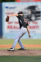 Hickory Crawdads starting pitcher Michael Matuella (32) delivers a pitch during a game against the Asheville Tourists at McCormick Field on July 14, 2017 in Asheville, North Carolina. The Crawdads defeated the Tourists 6-3. (Tony Farlow/Four Seam Images)
