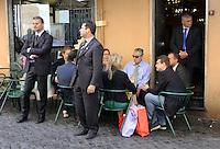 Roma, 11 Agosto 2011.Bar Giolitti nei pressi della camera dei deputati.Umberto Bossi ministro delle riforme per il federalismo e  Roberto Cota presidente regione Piemonte.Umberto Bossi, reforms minister, Roberto Cota federalism President Piemonte