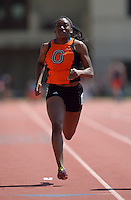 Apr 11, 2015; Los Angeles, CA, USA;  Onyekachi Nwabueze of Occidental College places fourth in the womens 100m in a wind-aided 12.76 in a SCIAC multi dual meet at Occidental College. Photo by Kirby Lee