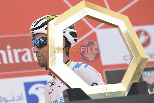 World Champion Alejandro Valverde (ESP) Movistar Team at sign on before the start of Stage 3 of the 2019 UAE Tour, running 179km form Al Ain to Jebel Hafeet, Abu Dhabi, United Arab Emirates. 26th February 2019.<br /> Picture: LaPresse/Fabio Ferrari | Cyclefile<br /> <br /> <br /> All photos usage must carry mandatory copyright credit (© Cyclefile | LaPresse/Fabio Ferrari)