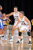 12 January 2012:  FIU guard Carmen Miloglav (24) and guard-forward Finda Mansare (23) on defense in the second half as the Middle Tennessee State University Blue Raiders defeated the FIU Golden Panthers, 74-60, at the U.S. Century Bank Arena in Miami, Florida.