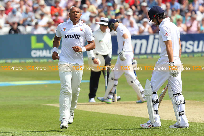Tymal Mills of Essex celebrates the wicket of England batsman Alastair Cook (R) - Essex CCC vs England - LV Challenge Match at the Essex County Ground, Chelmsford - 30/06/13 - MANDATORY CREDIT: Gavin Ellis/TGSPHOTO - Self billing applies where appropriate - 0845 094 6026 - contact@tgsphoto.co.uk - NO UNPAID USE