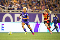 Orlando, Florida - Sunday, May 14, 2016: Orlando Pride midfielder Lianne Sanderson (10) turns away from Western New York Flash midfielder Michaela Hahn (2) during a National Women's Soccer League match between Orlando Pride and New York Flash at Camping World Stadium.