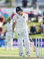 21st November 2019; Mt Maunganui, New Zealand;  England's Joe Denly shows his frustration as he is caught by Watling off the bowling of Southee. international test match cricket, Day 1, New Zealand versus England at Bay Oval, Mt Maunganui, New Zealand.