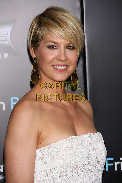 "Jenna Elfman.The New York Premiere of ""Friends With Benefits"" at the Ziegfeld Theater, New York, NY, USA..July 18th, 2011.headshot portrait white strapless crochet gold earrings circles .CAP/LNC/TOM.©LNC/Capital Pictures."