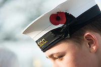 Pictured: A young cadet wears a poppy on his cap Friday 11 November 2016<br /> Re: Remembrance Day service at the Cenotaph in Swansea, south Wales, UK.