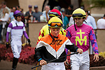 DEL MAR, CA  SEPTEMBER 3:  Leading jockey of the meet, Drayden Van Dyke,  enters the paddock before the Del Mar Juvenile Fillies Turf on September 3, 2018, at Del Mar Thoroughbred Club in Del Mar, CA. (Photo by Casey Phillips/Eclipse Sportswire/Getty ImagesGetty Images