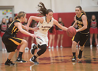 NWA Democrat-Gazette/J.T. WAMPLER Pea Ridge's Jennifer Anthony breaks downcourt while Prairie Grove's Taylor Hartin (left) and Camree Bartholomew defend Tuesday Feb. 2, 2016. The Tigers won 57-35. For a gallery of game images go to: http://nwamedia.photoshelter.com/